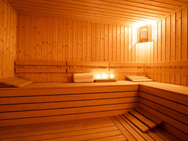 Interior of a wooden finnish sauna.