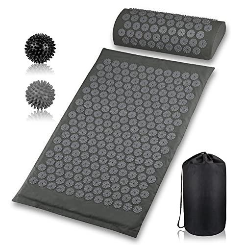 Akupressur-Set Akupressurmatte mit Kopfkissen und 2pcs Stachelig Massagebälle Tragetasche für Schmerzlinderung und Muskel Entspannung 68x42cm