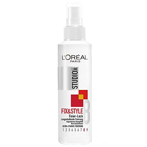 L'Oréal Paris Studio Line Stark fixierendes Haarspray, 24h ultra-starker Halt, Kein Verkleben, Kein Austrocknen, Fix&Style Fixier-Lack, 1 x 150 ml