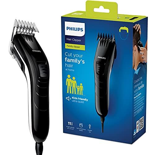 Philips QC5115/15 Haarschneider mit 11 präzisen Längeneinstellungen von 0.5mm bis 21mm, selbstschärfende Stahlklingen, kabelbetrieben